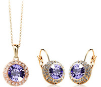 Wholesale yellow purple crystal bracelet - Fashion 2014 New Upscale Temperament Semicircular Austrian Crystal Earrings Necklace Jewelry sets For Women 18K Gold Plated