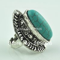 Wholesale Mini Cluster - (Mini order $10)Vintage look Retro Tibet Alloy Silver Plated Flower oval Turquoise Bead Adjustable Ring New arrival RG007