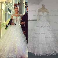 Wholesale Transparent Neckline Lace Wedding Gown - Real Image Wedding Dress 2015 Sheer Crew Neckline Ball Gown Lace Transparent Long Sleeve Court Train Bridal Dresses Actual Dhyz 01