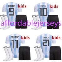 Wholesale Cheap Messi Soccer Jersey - New Top Quality 2018 World Cup MESSI DYBALA Argentina Kids soccer jersey With socks Maradona Cheap Argentine ICARDI football kits 2017 18