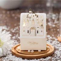 Wholesale Castle Candy - Lovely Ivory Laser Cut Castle Wedding Favors and Gift Box Bridal Shower Chocolate Candy Box Wedding Decorations