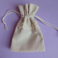 Wholesale Lace Favor Bags - 50 Pcs Pack Wedding Favor Holder Bags With Lace Decorative Beautiful Cotton Drawstring Party Gift Bags Jewelry Pouches