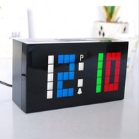 Wholesale led clock diy - Novelty Colorful Color Custom Personalized LED Electronic Alarm Digital Clock DIY Wall Clock and Desktop Clocks For Home Decor Gift