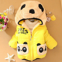 Wholesale Long Sleeves Panda Outwear - Toddler Baby Winter Coat Cute Little Panda Cartoon Infant Down Coat Candy Color Long Sleeve Hooded Outwear For Children Fit 1-4Age K801