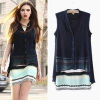 Wholesale Cheap Women Dress Blouses - The Newest 2015 Fashion Brand Chiffon Blouse Conjoined Sheath Short Skirts Sleeveless Button Tops Striped Skirt Slim Cheap Chiffon Dress