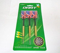 Wholesale Wholesale Steel Tip Darts - 3PCS of Professional Darts Fights Shafts Brass Steel Tips Set Of Darts USA&UK Flag G112