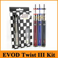 Wholesale twist cigarette black - EVOD Twist III Kit E Cigarette Kit 1600mAh EVOD Twist 3 Battery M16 Atomizer Huge Vaporizer Kit Fast Shipping