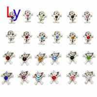 Wholesale boys and girls with birthstone floating charm for Glass Locket Necklaces Valentine gift MFC2006