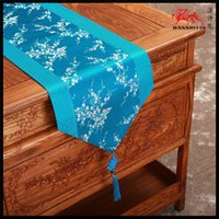 Wholesale Blue Satin Table Runners - Auspicious Cherry blossoms Table Runner Patchwork Chinese knot Table Linen Stylish Satin End Table Cloth for Wedding Christmas Decoration