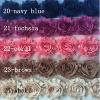 Wholesale Sunflower Headbands - Sale BY YARDS ! 24 COLORS hair band accessories! 65MM Shabby flash chiffon roses sunflowers  brooch  shoes flower   hat flower  30YARDS