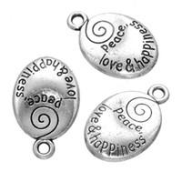 Wholesale Happiness Crafts - 200 pcs samll oval charms pendant with peace love happiness letters good for DIY craft jewelry finding
