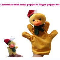 Wholesale Duck Sets - #Duck Christmas Puppet 5set lot Baby Plush Toy,Story Talking Props,Stuffed Doll( Set of Hand Puppets+Finger Puppets Animals)