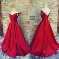 Wholesale Samples Evening Wear - Real Sample Custom Made Dark Red Prom Dresses V Neck Off the Shoulder Long Formal Evening Party Gowns with Sash Bow Pageant Wear