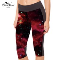 Wholesale Star Sexy Legging Pants - Sexy 2015 Women's 7 point pants women legging Galaxy Psychedelic Red Star digital print women high waist Side pocket phone pant FG1510