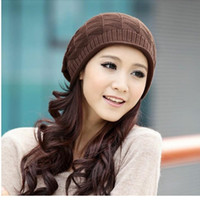 Wholesale Woolly Hats Cap Wholesalers - Wholesale-Women's crochet Warm Hats Plaid woolly stretchy caps 4 Color in autumn&winter knitted fabrics for ladies christmas gift
