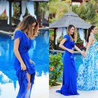 uzun gri şifon önlük toptan satış-Sevimli Bayan Kokteyl Elbiseleri Uzun Balo Abiye Kraliyet Mavi Şifon V Boyun Kapaklı Kısa Kollu Ucuz Yüksek Kalite Maxi Elbise Parti
