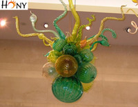 Frete Grátis 2017 Hot Sale Mini <b>Murano Glass Bubble Chandelier</b> Chihuly Style Vintage Green Blown Glass Chandelier Lighting