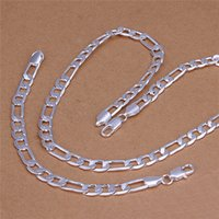 Wholesale Silver Chain 925 Set Figaro - S210 Top quality 925 sterling silver plated 8MM Figaro Chain Necklace & Bracelet Fashion Jewelry Set for men Free shipping