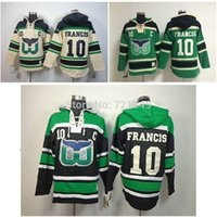 Wholesale Cheap Hooded - Factory Outlet, Cheap Hartford Whalers hooded Jersey #10 Ron Francis Old Time Hockey Hoodies Sweatshirts Size M--3XL