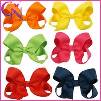 Wholesale Satin Bow Inch - 5 Inch Grosgrain Ribbon Satin Ribbon Hair Bow Two Layers Hair Clips Toddler Girl Christmas Gift