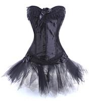 Wholesale Lace Corset Petticoat - Wholesale-Hello Tem sexy lace up bustier corset women petticoat skirt steampunk waist cincher showgirl tutu dress costume 3 Pieces