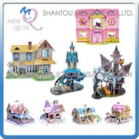 toy cabin prices - Wholesale-Sales Promotion 8 type Mini Qute Christmas Cabin building 3d paper puzzle diy model cardboard jigsaw puzzle game educational toy