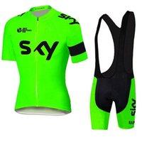 gökyüzü bisiklet takımları toptan satış-2017 Tour De France ekibi SKY Bisiklet Jersey Seti Kısa Kollu Erkekler Bisiklet Skinsuit Açık Bisiklet XS-4XL