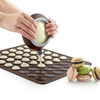 Wholesale Macaron Baking Set - 2015 Silicone Mold free Shipping 48-hole Silicone Macaron Cake Mold Kit with Decorative Nozzle Tool And Baking Mat High Quality Food-grade