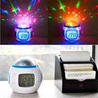 Wholesale Star Projection Music Clock - Colorful Music Starry Star Sky Projection projector with Alarm Clock Calendar Thermometer Christmas