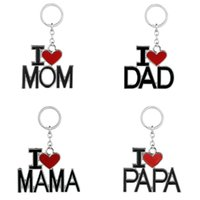 Wholesale Mom Keychains - creative keychain DAD MOM MAMA letter keychains mother father love heart key chain fashion keyrings key ring wholesale Christmas gifts 2017