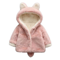 Wholesale Clothes Coats For Rabbits - Baby Girls Winter Jackets Warm Faux Fur Fleece Coat Children Jacket Rabbit Ear Hooded Outerwear Kids Jacket for Girls Clothing
