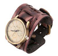 braune manschetten großhandel-Vintage echtes Lederarmband Uhr Mode Punk Männer Teens Quarz Armbanduhren Armband Manschette Armreif Partei festliches Geschenk schwarz braun