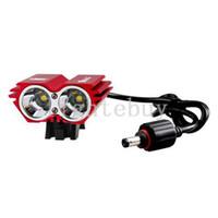 Wholesale Dual Led Bike Lights - LED Bicycle Light 2*XM-L T6 LED 4 Modes Dual Head LED bike front light headlight Cycling Light headlamp + 4*18650 Battery Pack