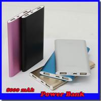 Wholesale Slim Port - 8000mah power bank for mobile phone 2 USB Port Ultra thin slim powerbank Tablet PC External battery