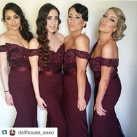 Wholesale line sweetheart satin wedding dress red online - vestido de madrinha Cheap Lace Long Bridesmaid Dresses With Ribbon Mermaid Formal Prom Gown For Wedding Custom Made