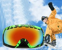 Wholesale Golden Burst - Ski Goggles Men Skiing Glasses Women UV400 Anti-burst Double Anti-fog Big Spherical Snowboard hiking Eyewear Mask