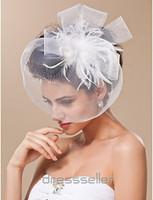 ingrosso cappelli di piuma-Top Vendita Retro White Feather Tulle Net Birdcage Veil Copricapo Testa Velo Accessori da sposa Matrimonio Cappello da sposa