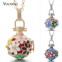 Wholesale Gold Plated Metal Flowers - Angel Locket Flower Angel Ball Necklace 3 Colors Brass Metal Pendants Baby Chime Necklace with Stainless Steel Chain VA-046