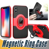Wholesale Navy Gold Ring - Ring Holder Magnetic Case Car Holder Shockproof Armor Leather PC Case Cover For iPhone X 8 7 6 Plus Samsung Note 8 S8 S9 Plus S7 Edge