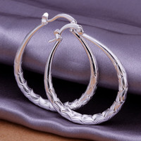 Wholesale Small Silver Cross Sterling - Brand new sterling silver Yu Wen oval earrings - small DFMSE295,women's 925 silver Dangle Chandelier earrings 10 pairs a lot factory direct