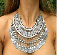 Wholesale Choker Vintage Brand Necklace - Vintage turkish necklaces jewelry Brand bohemian Silver gold Round Zamac Coin Tassels Choker Collar Shourouk statement necklace for women