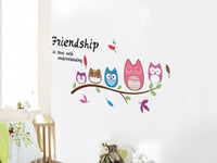 Wholesale Friendship Art - Five Cute Owls on the Tree Branch Wall Art Decal Sticker Friendship is Love with understanding Wall Quote Poster Sticker