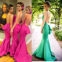 Wholesale Satin Fabric Mermaid Prom Dress - Unique Long Bridesmaid Dresses 2016 Mermaid Formal Prom Dresses Fuchsia Ball Gowns With Spaghetti Straps Backless Satin Fabric Summer Beach