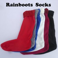 Wholesale Tall Fleece Socks - Wholesale-New brand original H igh Kintted chunky cable cuff fleece welly socks welsock M L size for tall rainboots shoes free shipping
