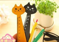 Wholesale Rulers 15cm - 2016 Kawaii Student Animal shape Wooden Ruler drawing ruler school Office student stationery Supplies kitty cat shape 15cm
