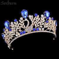 Wholesale Blue Crystal Wedding Headpiece - Gold Alloy Royal Blue Rhinestones Crown Headpiece For Brides Quinceanera Vintage Luxury Tiaras And Crowns Wedding Party Accessories
