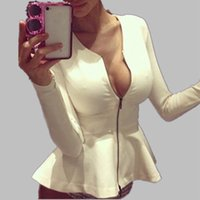 Neue Herbst Fashion 2015 Frauen Sexy Zipper Peplum Rüsche Mantel Slim O-Neck Tops Cardigan Thin Jacke Outwear Plus Größe M-XXL