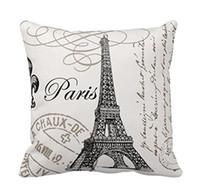coussins de tour eiffel achat en gros de-Vintage Paris eiffel tower oreiller housse de coussin taie d'oreiller décoration de la maison chaise décoration pour Home Decor canapé taie d'oreiller