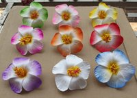 Wholesale Hibiscus Flower Jewelry - Wholesale-1pcsfree shipping mixed colors Foam Hawaiian flower Hibiscus Flower bridal hair clip 9cm you pick flower jewelry
