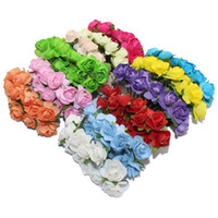 Wholesale Paper Rose Heads - Wholesale 1-1.5cm head Multicolor Mulberry Paper Flower Bouquet wire stem scrapbooking artificial rose flowers for candy box